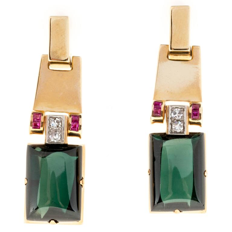 Cabochon Green Tourmaline Ruby Diamond Gold Dangle Earrings