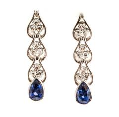 Pear Natural Sapphire Diamond Gold Dangle Earrings