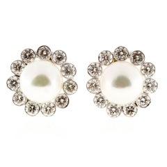 Japanese Cultured Pearl Diamond Gold Earrings