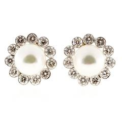 Japanese Cultured Pearl Diamond Gold Earrings