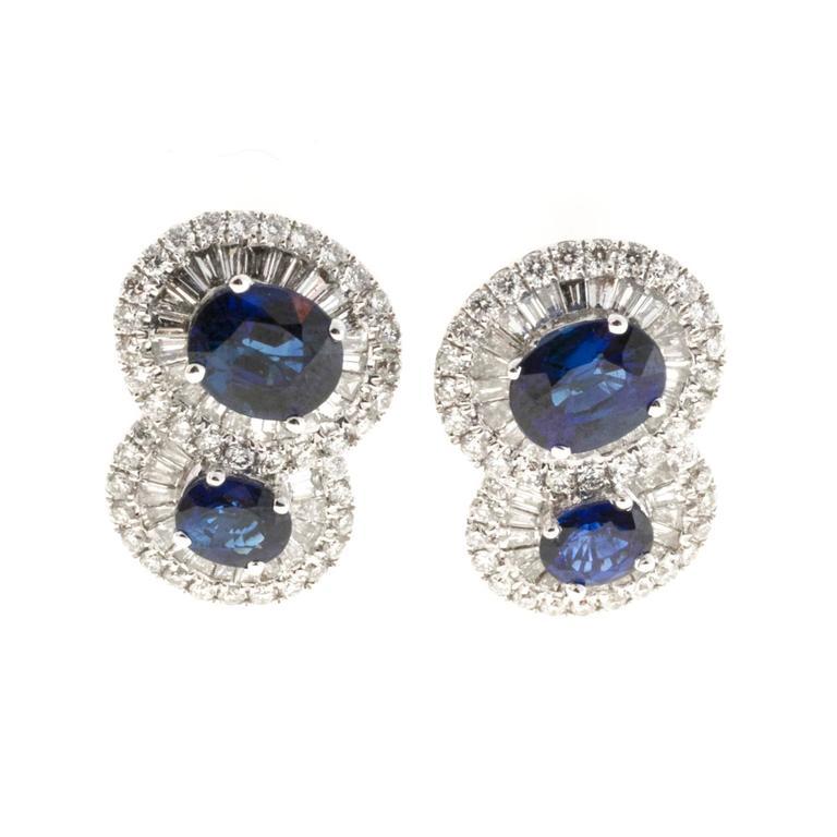 Royal Blue Sapphire Diamond Gold Earrings