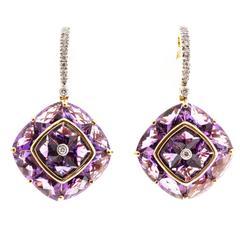 Bellarri Hava  Amethyst Diamond Gold Dangle Earrings