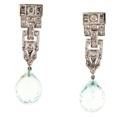 Aquamarine Briolette Diamond Engraved Platinum Dangle Earrings