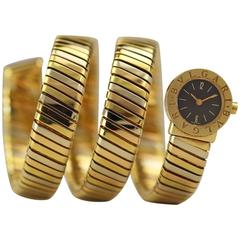 Bulgari Lady's Three Color Gold Tubogas Snake Quartz Bracelet Wristwatch