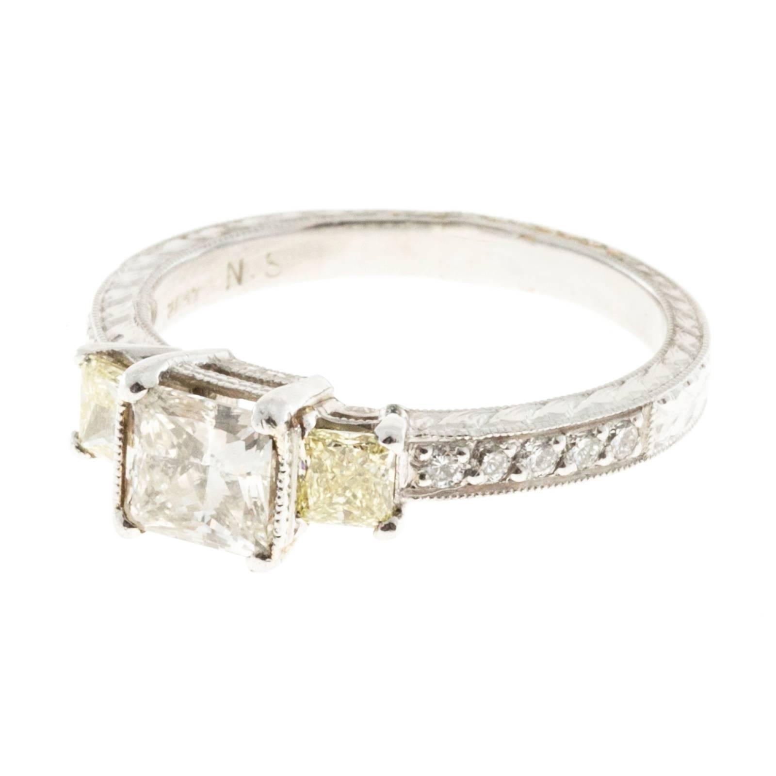 Radiant Cut Diamond Platinum Engagement Ring