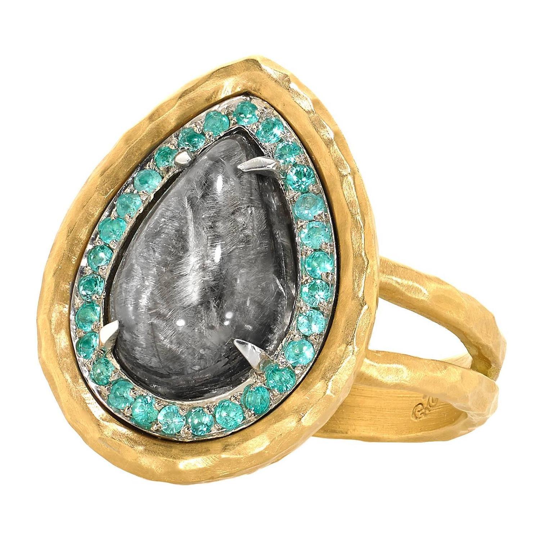 Pamela Froman Rutilated Quartz Brazilian Paraiba Tourmaline Gold Platinum  Ring For Sale At 1stdibs