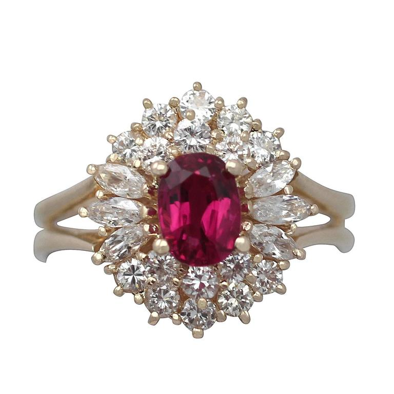 1990s Ruby and Diamond Yellow Gold Cluster Ring