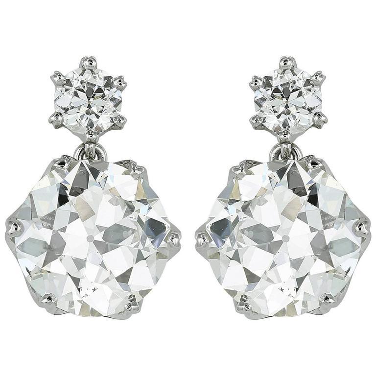 5.65 Carats Old European Cut Diamonds Gold Drop Earrings