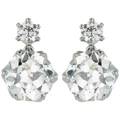 5.65 Carats Old European Cut Diamonds Gold Drop Earrings