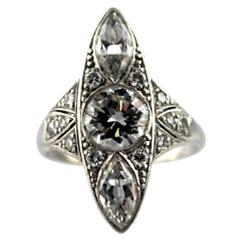 1930's Art Deco Diamond Platinum Navette Cocktail Ring