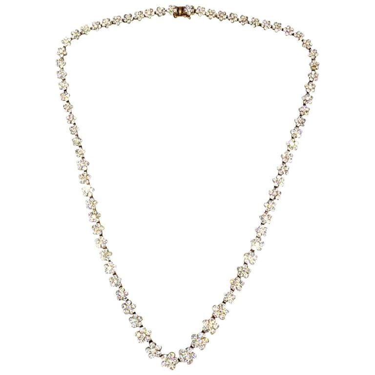 Rose Gold Diamond Floral Link Necklace