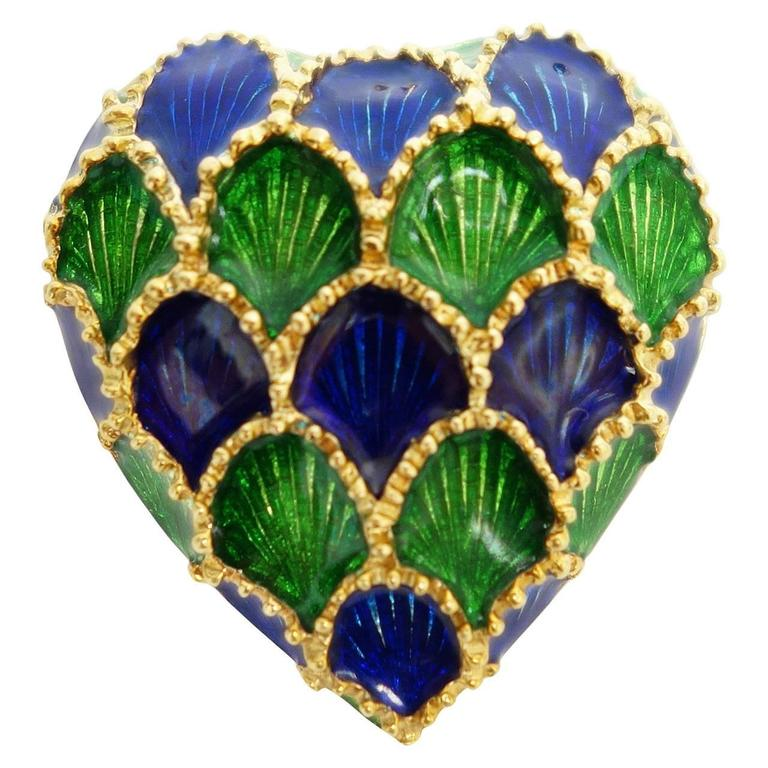 Tiffany & Co. Blue and Green Enamel Gold Heart Pin Pendant For Sale