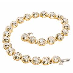 5.25 Carat Diamond Gold Round Tube Set Hinged Bracelet