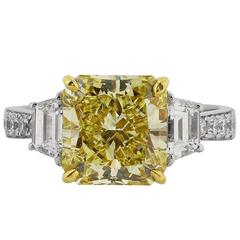 3.77 Carat GIA Certified Fancy Yellow Diamond Gold Platinum Ring
