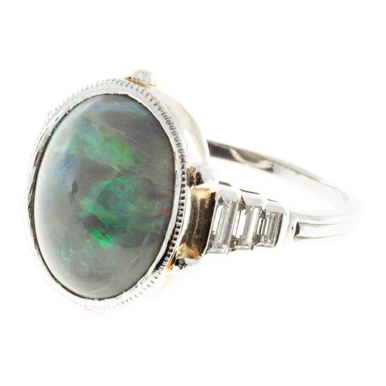 Natural Black Cabochon Opal Diamond Platinum Ring For Sale