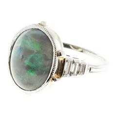 Natural Black Cabochon Opal Diamond Platinum Ring