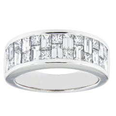 Jona Baguette and Square Cut White Diamond 18 Karat White Gold Band Ring