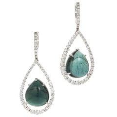 Peter Suchy 15.84 Carat Blue Cabochon Tourmaline Diamond Gold Dangle Earrings