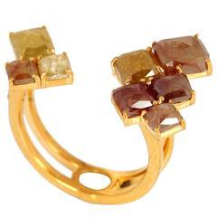 Artisan's Yellow Ice Diamond Gold Floating Ring