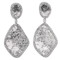 One of a Kind White Slice Diamond Gold Drop Earrings