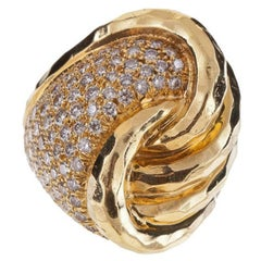 HENRY DUNAY 18K Hammered Gold and Pavé Diamond Ring