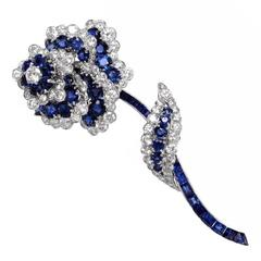 1960s Van Cleef & Arpels Diamond Sapphire Platinum Floral Brooch Pin