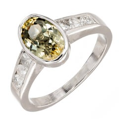 2.20 Carat Oval Green Yellow Natural Sapphire Diamond Platinum Engagement Ring
