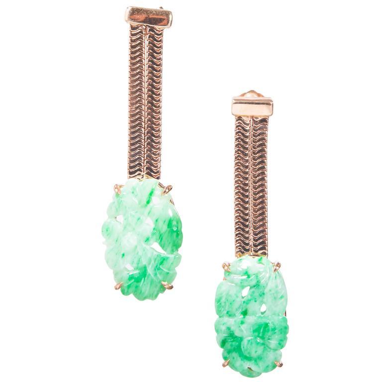 Peter Suchy GIA Certified Jadeite Jade Rose Gold Dangle Earrings