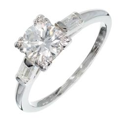Egl Certified Art Deco Diamond Transitional Cut Platinum Engagement Ring