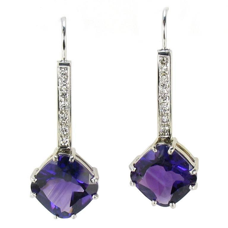 Cushion Cut Amethyst Diamond Gold Drop Earrings 1