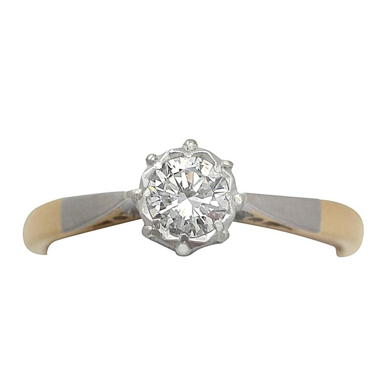 0.35Ct Diamond & 18k Yellow Gold, Platinum Set Solitaire Ring - Vintage
