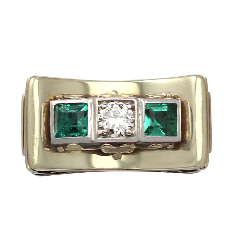 1950s Art Deco Tourmaline & Diamond Yellow Gold Cocktail Ring