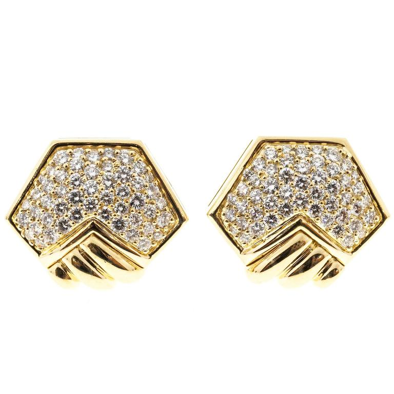 Hammerman Brothers Diamond Pave Gold Clip Post Earrings