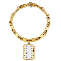 Cartier Ruby Gold Zodiac Link Charm Bracelet