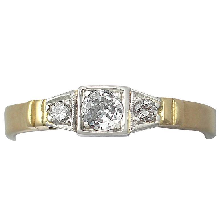 0.43Ct Diamond & 18k Yellow Gold, 18k White Gold Set Trilogy Ring - Vintage
