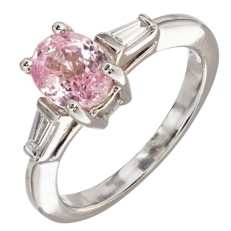 GIA Certified 1.65 Carat Natural Pink Sapphire Diamond Platinum Engagement Ring