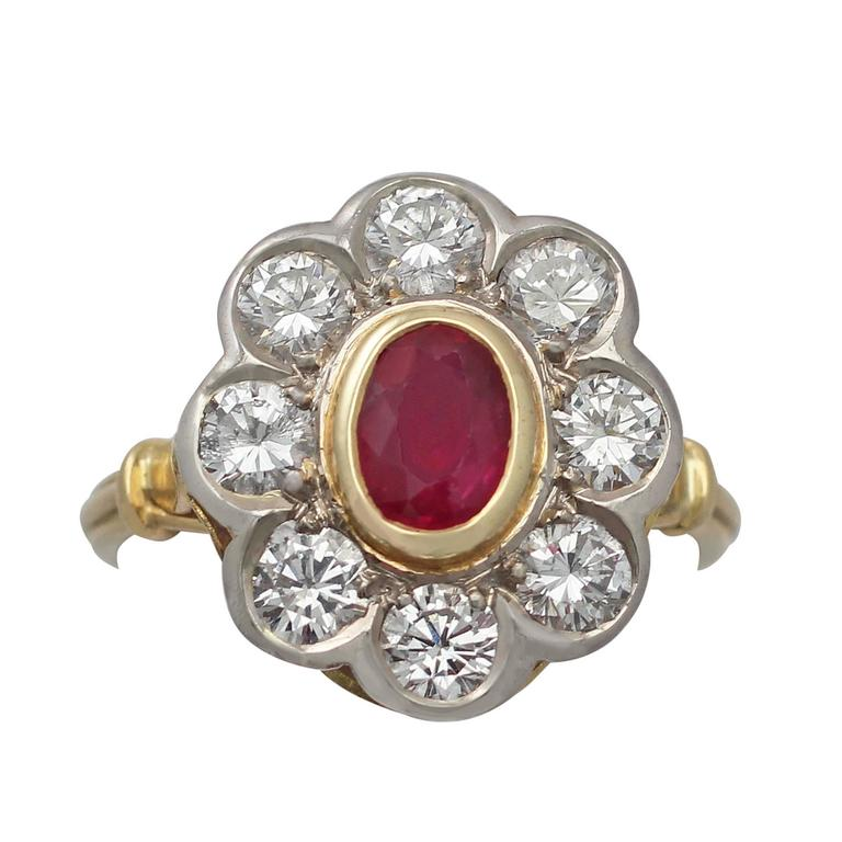 2.05Ct Diamond & Ruby Colour Doublet, 18k Yellow Gold Cluster Ring - Vintage