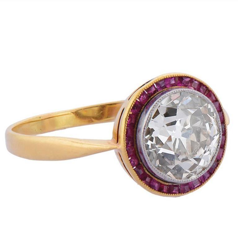 Belle Époque Ruby Diamond Gold Engagement Ring 1