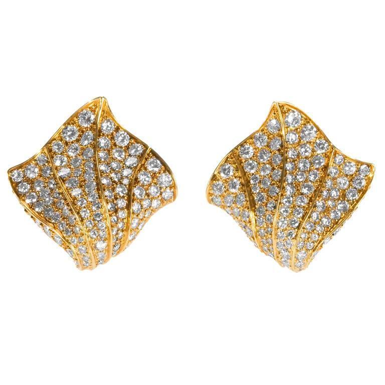 Kurt Wayne 1980s Diamond and Gold Earrings