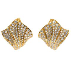 Kurt Wayne 1980s Diamond and Gold Earrings
