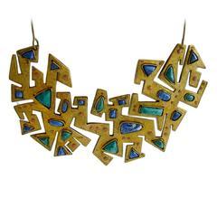 Juan Reyes Lapis Malachite Copper Brass Necklace