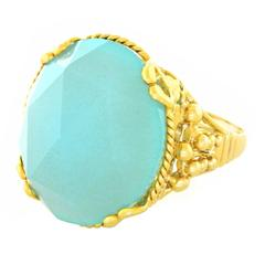 "Alchemy Collection ""Victoria Blue"" Chalcedony Gold Occasional Ring"