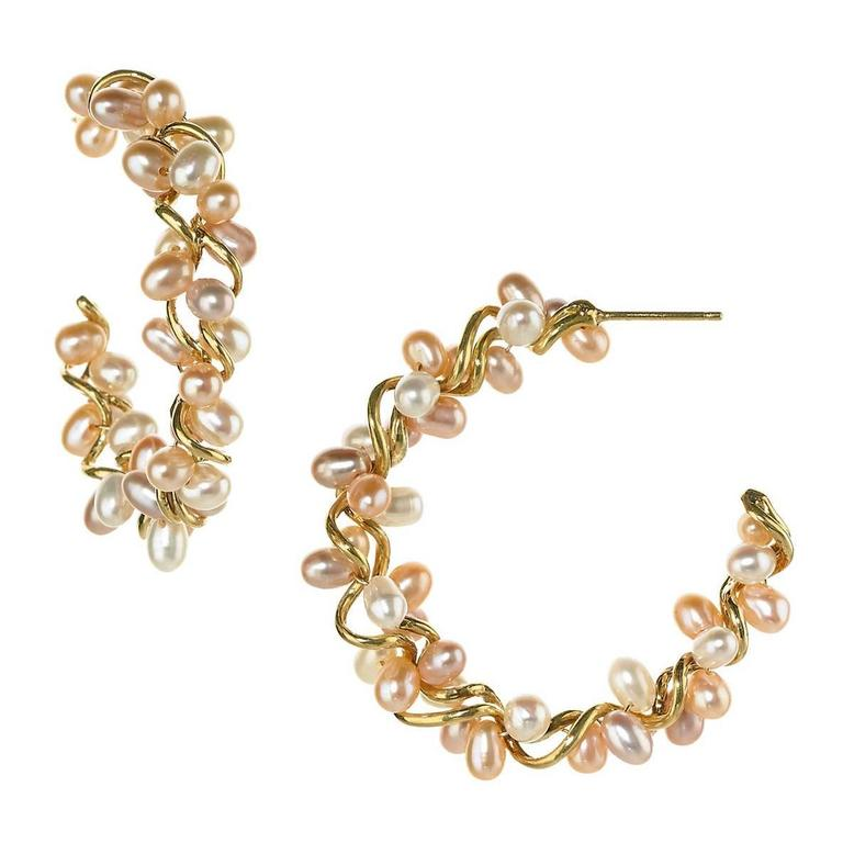 Joseph Murray Champagne Freshwater Pearl Gold Spiral Hoop Earrings For
