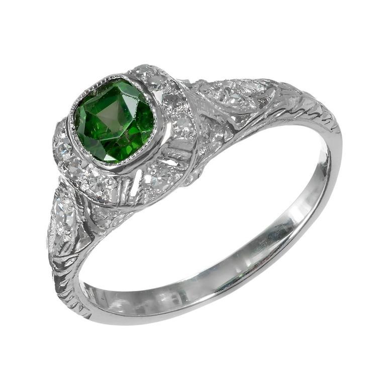 Demantoid Garnet Platinum Ring For Sale