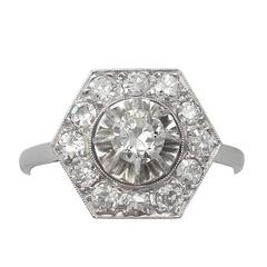 1.28Ct Diamond and Platinum Cluster Ring - Vintage French Circa 1940