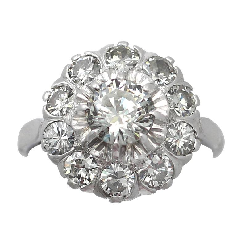 1.35Ct Diamond and 18k White Gold Cluster Ring - Vintage Circa 1950 For Sale