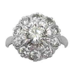 1.35Ct Diamond and 18k White Gold Cluster Ring - Vintage Circa 1950