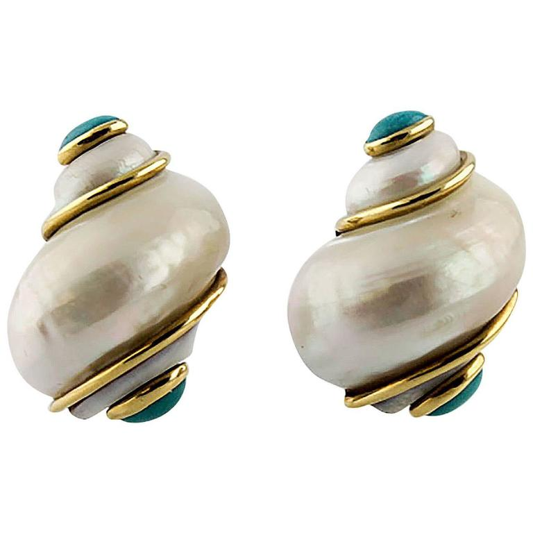 Seaman Schepps Turbo Collection Turquoise Gold Sea Shell Earrings For Sale
