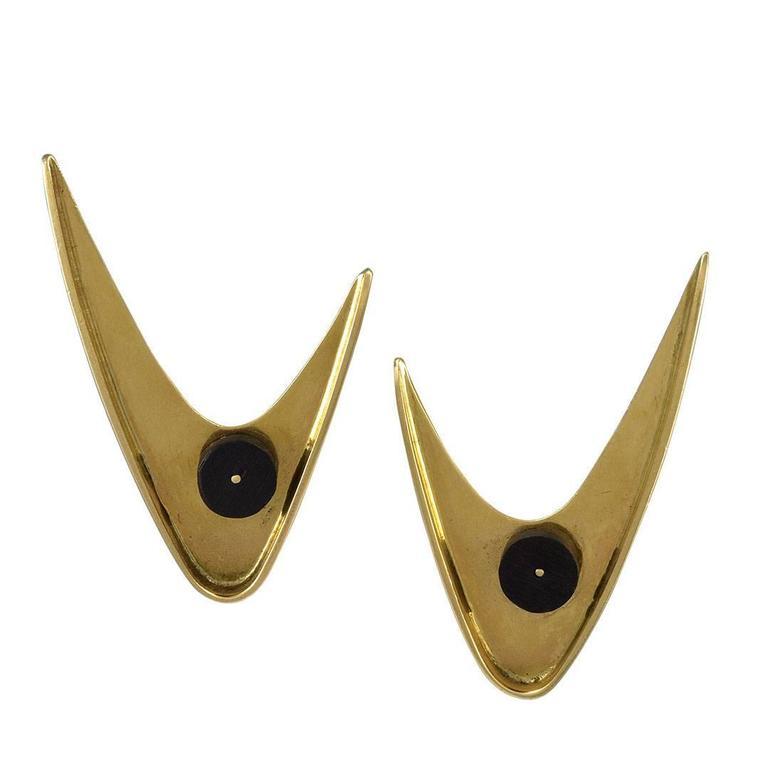 Ed. Wiener Gold and Ebony Ear Clips
