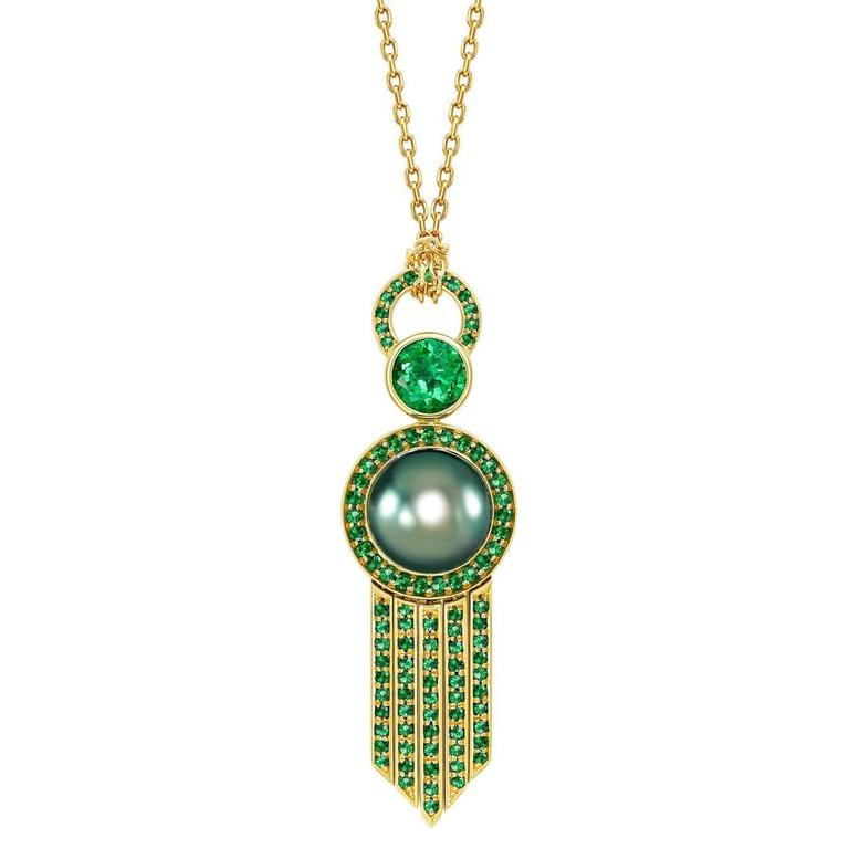 Ana De Costa Yellow Gold Green Round Tsavorite Black Tahitian Pearl Drop Pendant For Sale